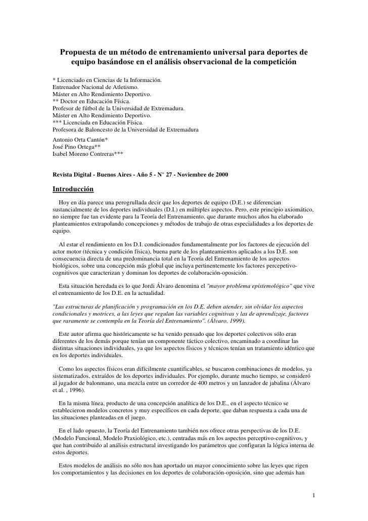 Propuesta de un método de entrenamiento universal para deportes de       equipo basándose en el análisis observacional de ...
