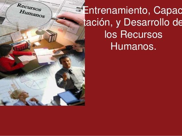 Entrenamiento, Capactación, y Desarrollo de     los Recursos       Humanos.