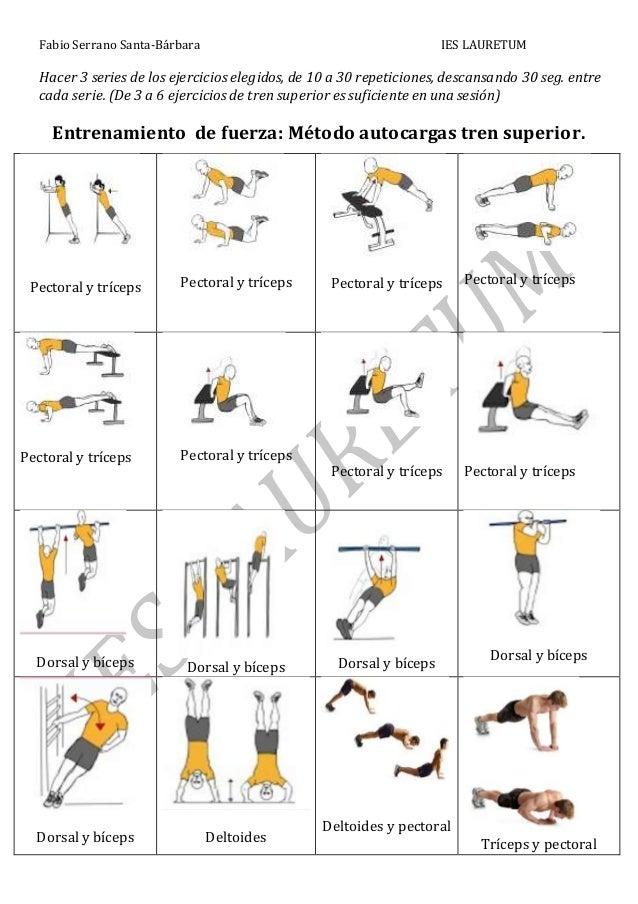 Dossier de ejercicios de fuerza: método autocarga, parejas