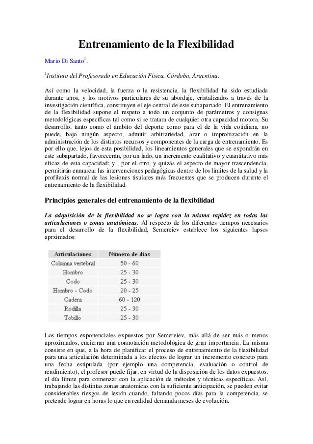 Entrenamiento de la flexibilidad (Mario Di Santo)