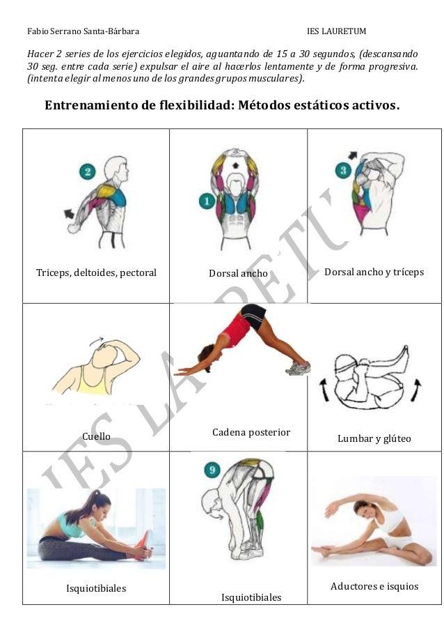 Fabio Serrano Santa-Bárbara IES LAURETUM Hacer 2 series de los ejercicios elegidos, aguantando de 15 a 30 segundos, (desca...
