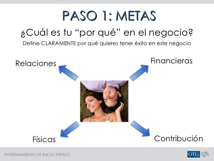 """PASO 1: METAS ¿Cuál es tu """"por qué"""" en el negocio? Relaciones Financieras Contribución Físicas Define CLARAMENTE por qué q..."""