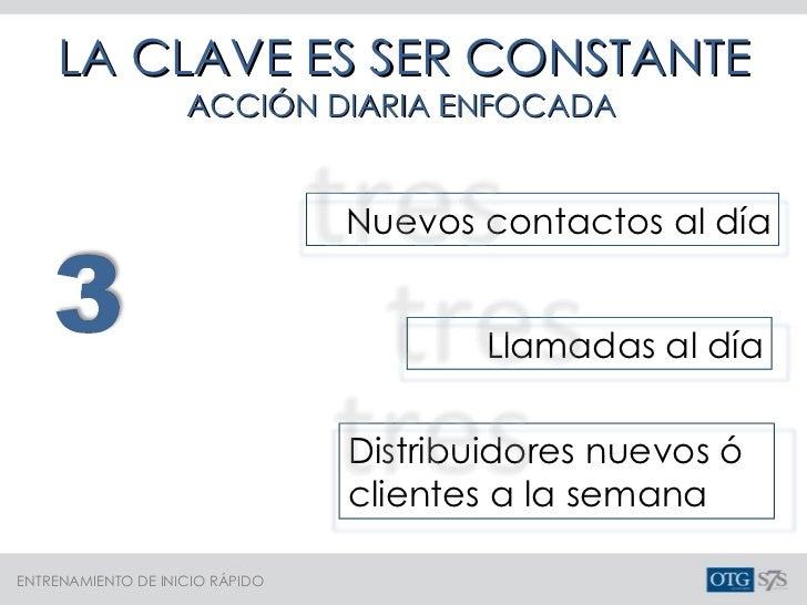 LA CLAVE ES SER CONSTANTE ACCIÓN DIARIA ENFOCADA Nuevos contactos al día Llamadas al día Distribuidores nuevos ó clientes ...