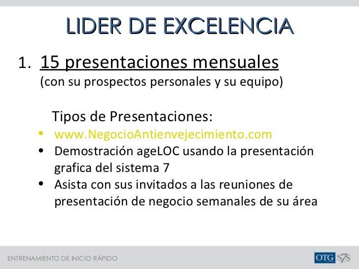 <ul><li>1.  15 presentaciones mensuales </li></ul><ul><li>(con su prospectos personales y su equipo) </li></ul><ul><li>Tip...