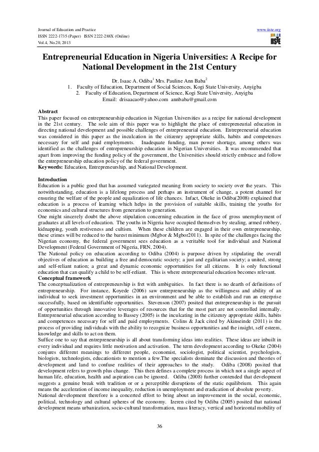 Journal of Education and Practice ISSN 2222-1735 (Paper) ISSN 2222-288X (Online) Vol.4, No.20, 2013  www.iiste.org  Entrep...