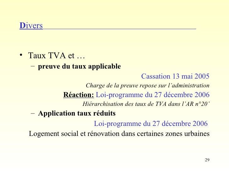Entreprendre 2007 for Tva applicable travaux renovation
