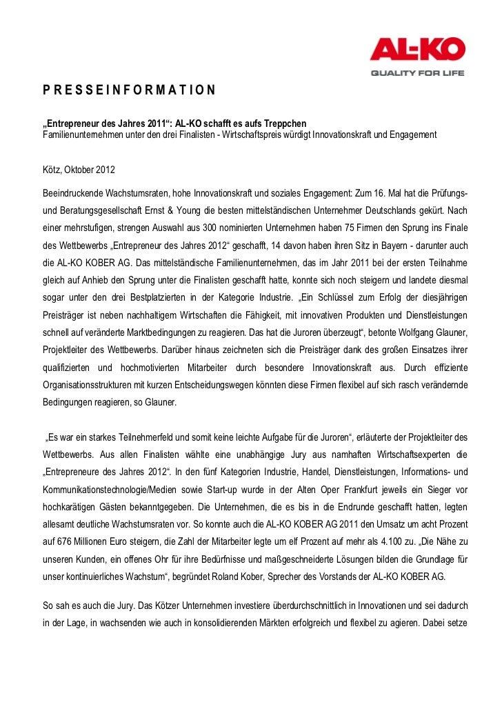 """PRESSEINFORMATION""""Entrepreneur des Jahres 2011"""": AL-KO schafft es aufs TreppchenFamilienunternehmen unter den drei Finalis..."""