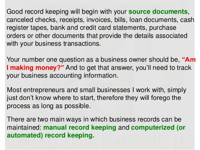 Tax tips for entrepreneurs and small business owners 20 good record keeping reheart Choice Image