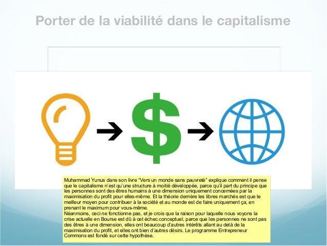 """Porter de la viabilité dans le capitalisme Muhammad Yunus dans son livre """"Vers un monde sans pauvreté"""" explique comment il..."""