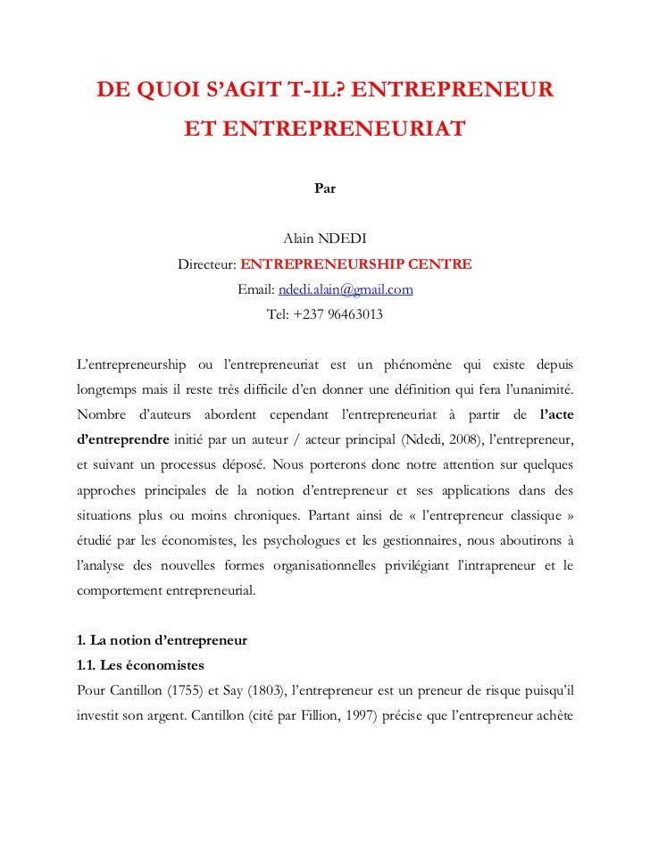 Entrepreneur et entrepreneuriat de quoi s'agit t il