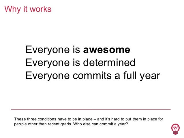 Why it works  1. Everyone is awesome 2. Everyone is determined 3. Everyone commits a full year  These three conditions hav...
