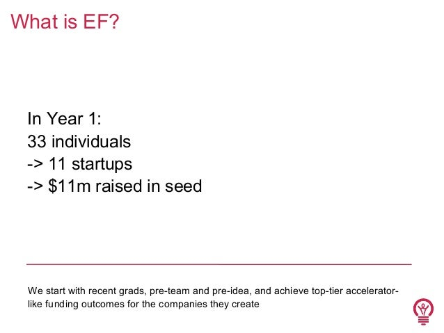 What is EF?  In Year 1: 33 individuals -> 11 startups -> $11m raised in seed  We start with recent grads, pre-team and pre...