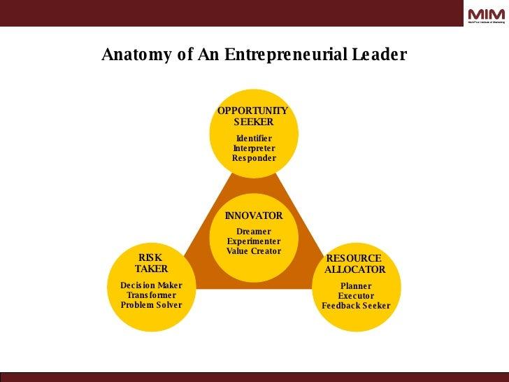 INNOVATOR RESOURCE  ALLOCATOR RISK  TAKER OPPORTUNITY  SEEKER Dreamer Experimenter Value Creator Decision Maker Transforme...