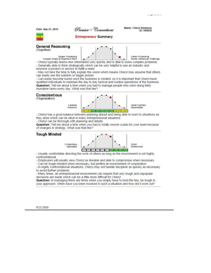 Entrepreneurial assessment2010