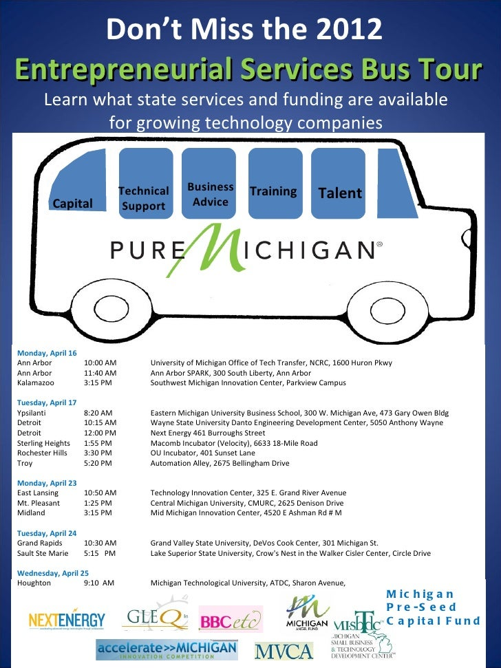 Don't Miss the 2012Entrepreneurial Services Bus Tour       Learn what state services and funding are available            ...