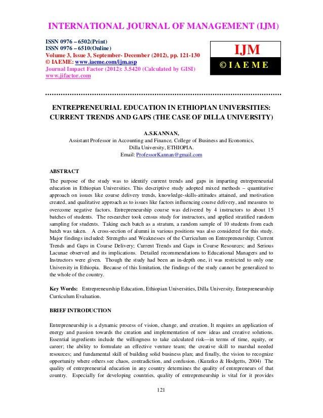 Entrepreneurial education in ethiopian universities current