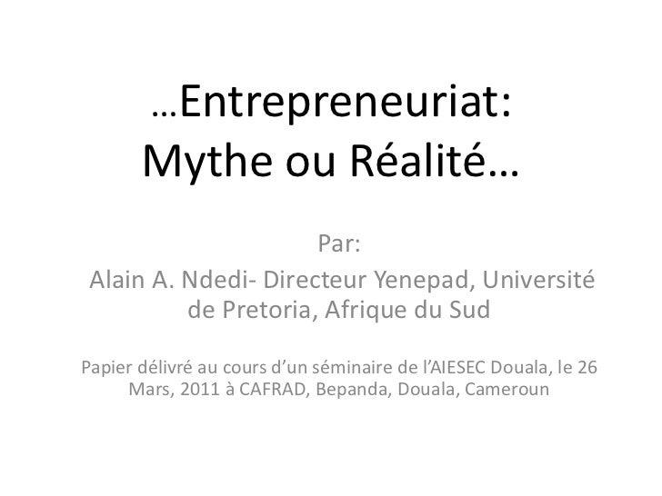 Entrepreneuriat et intrapreneuriat