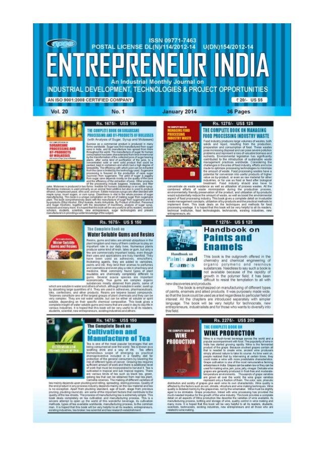ENTREPRENEUR INDIA, JANUARY 2014 1Visit us at : www.niir.org