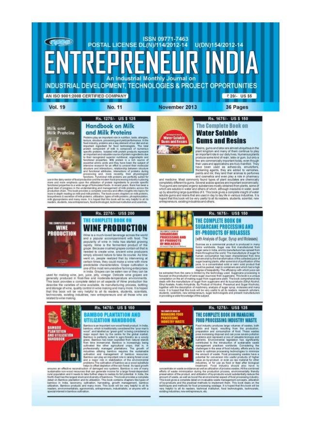 ENTREPRENEUR INDIA, NOVEMBER 2013 1Visit us at : www.niir.org