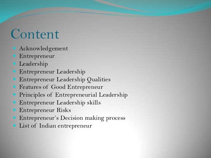 Entrepreneur leadership
