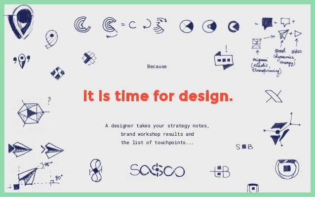 A designer takes your strategy notes, brand workshop results and the list of touchpoints... Because it is time for design.