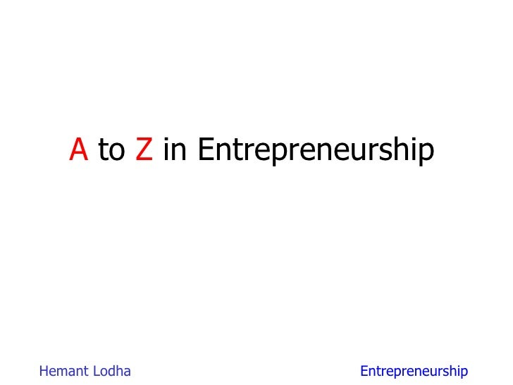 A  to  Z  in Entrepreneurship