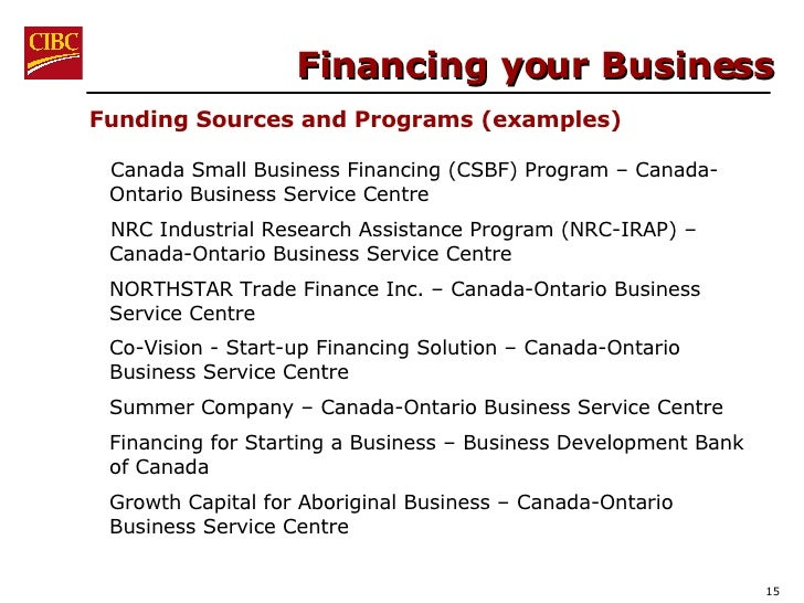 Financing your Business <ul><li>Canada Small Business Financing (CSBF) Program – Canada-Ontario Business Service Centre  <...