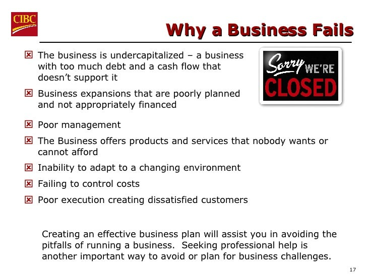 Why a Business Fails <ul><li>Poor management </li></ul><ul><li>The Business offers products and services that nobody wants...