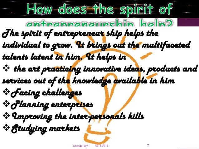 The spirit of entrepreneur ship helps theindividual to grow. It brings out the multifacetedtalents latent in him. It helps...