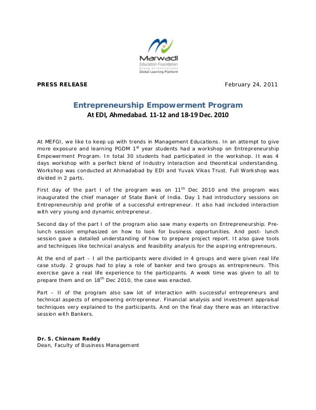 PRESS RELEASE February 24, 2011 Entrepreneurship Empowerment Program AtEDI,Ahmedabad.11‐12and18‐19Dec.2010 At ...