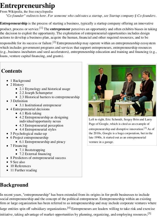Entrepreneurship wikipedia, the free encyclopedia