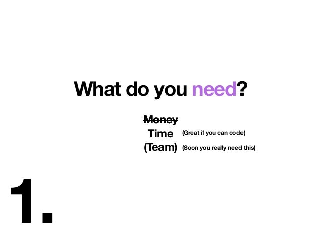 1. What do you need? Money Time (Team) (Great if you can code) (Soon you really need this) Money