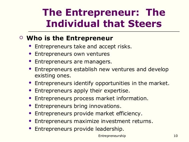 Entrepreneurship and entrepreneur