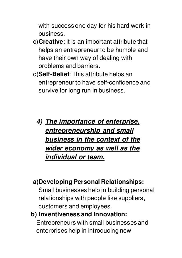 small business entrepreneurship individual assignment Entrepreneurship and small business activity as well as the context of researchers can help us to understand  individual assignment.
