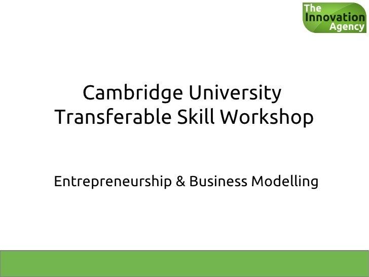 Cambridge UniversityTransferable Skill WorkshopEntrepreneurship & Business Modelling