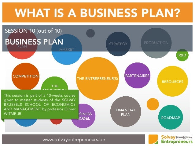 www.solvayentrepreneurs.be WHAT IS A BUSINESS PLAN? SESSION 10 (out of 10) BUSINESS PLAN This session is part of a 10-week...