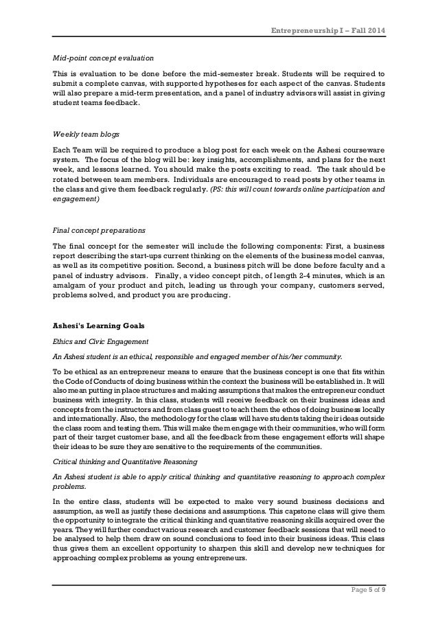 Entrepreneurship I – Fall 2014 Page 5 of 9 Mid-point concept evaluation This is evaluation to be done before the mid-semes...