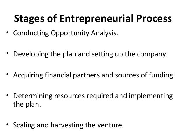 Stages of Entrepreneurial Process • Conducting Opportunity Analysis. • Developing the plan and setting up the company. • A...