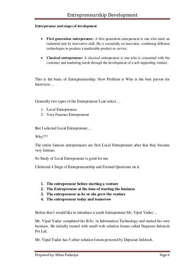 entrepreneurship development assignment