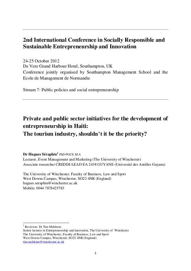 2nd International Conference in Socially Responsible andSustainable Entrepreneurship and Innovation24-25 October 2012De Ve...