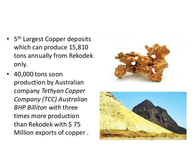 COPPER DEPOSITS • 5th Largest Copper deposits which can produce 15,810 tons annually from Rekodek only. • 40,000 tons soon...
