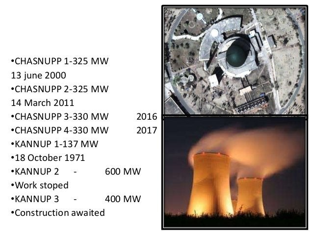 ATOMIC NUCLEAR POWER •CHASNUPP 1-325 MW 13 june 2000 •CHASNUPP 2-325 MW 14 March 2011 •CHASNUPP 3-330 MW 2016 •CHASNUPP 4-...