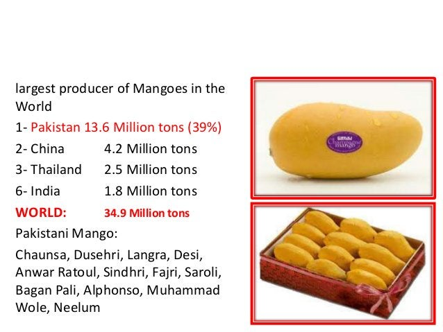 LARGEST MANGOES PRODUCER in the WORLD is PAKISTAN largest producer of Mangoes in the World 1- Pakistan 13.6 Million tons (...
