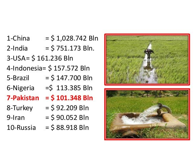 RANK FOR AGRICULTURE OUTPUT 1-China = $ 1,028.742 Bln 2-India = $ 751.173 Bln. 3-USA= $ 161.236 Bln 4-Indonesia= $ 157.572...