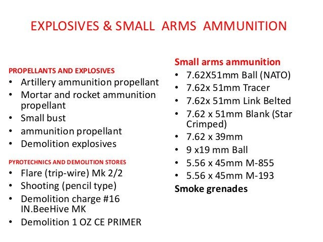 EXPLOSIVES & SMALL ARMS AMMUNITION PROPELLANTS AND EXPLOSIVES • Artillery ammunition propellant • Mortar and rocket ammuni...
