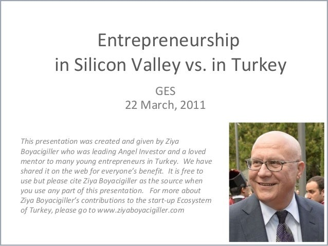 Entrepreneurship in Silicon Valley vs. in Turkey GES 22 March, 2011 This presentation was created and given by Ziya Boyaci...