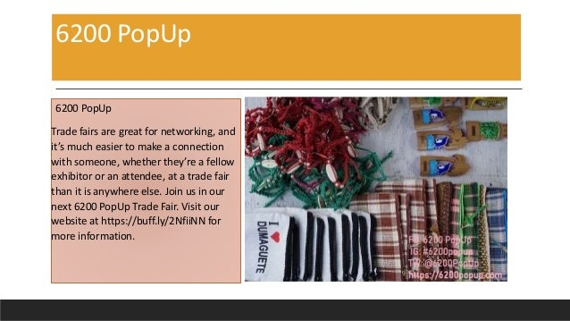 6200 PopUp 6200 PopUp Trade fairs are great for networking, and it's much easier to make a connection with someone, whethe...