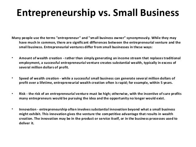 what is small business entrepreneurship