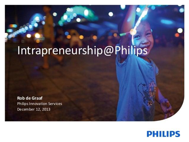 Intrapreneurship@Philips  Rob de Graaf Philips Innovation Services December 12, 2013  1  December 12,2013  Philips Innovat...