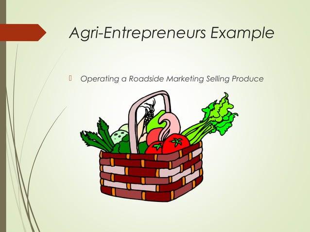 Agri-Entrepreneurs Example   Operating a Roadside Marketing Selling Produce